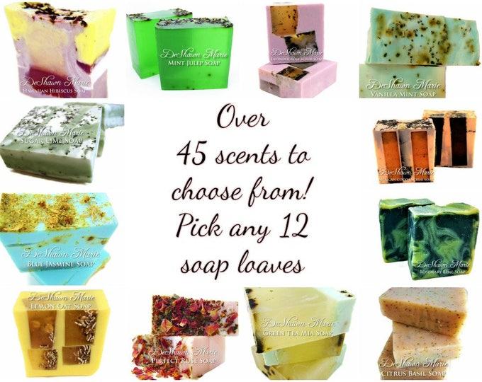SALE SOAP - 12 assorted 3LB Handmade Soap Loaves, Wholesale Soap Loaves, Vegan Soap, Soap Gifts, Wedding favors, Shower Favors, Christmas Gi