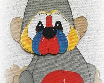 Adorable baby baboon animal premade paper piecing 3d die cut by my tear bears kira