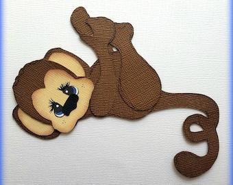 Adorable  monkey zoo animal premade paper piecing 3d die cut by my tear bears kira