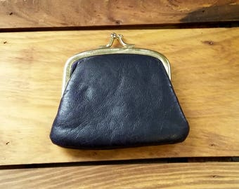 Vintage Change Purse Midnight Navy Vinyl Vegan Faux Leather Snap Coin Purse 60's Fashion Handbag Accessory