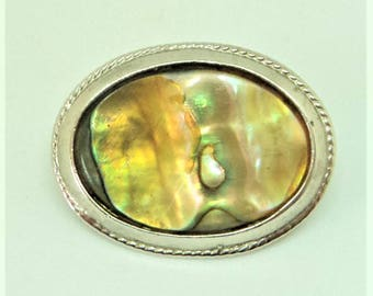 Signed 'Exquisite' Miniature Brooch... Abalone Shell