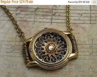 25OFFSALE Watch Casing Filigree Necklace Gold
