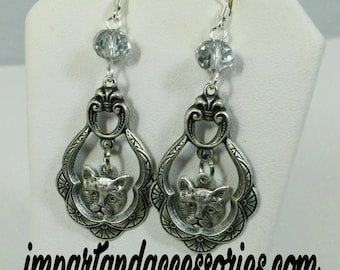 COUTURE KITTY-Silver Stampings Dangle Charm Crystal Earrings