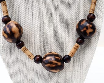 Tagua Nut Necklace & Earrings