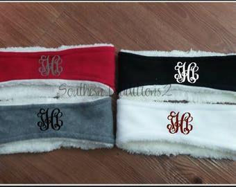 Monogrammed Fleece Sherpa Headbands Monogram Sherpa Headband - Red Black White Gray Headband