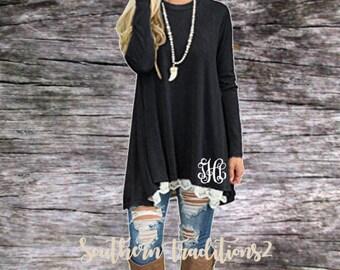 Monogram Pullover Tunic - Ladies Monogrammed Pullover - Women's Black Lace Sweatshirt
