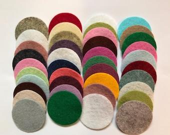 Wool Felt Circles Die Cut 40 - 1.5 inch Random Colored 4078- felted circle - circle die cut - headband supplies - Arts and crafts - DIY felt