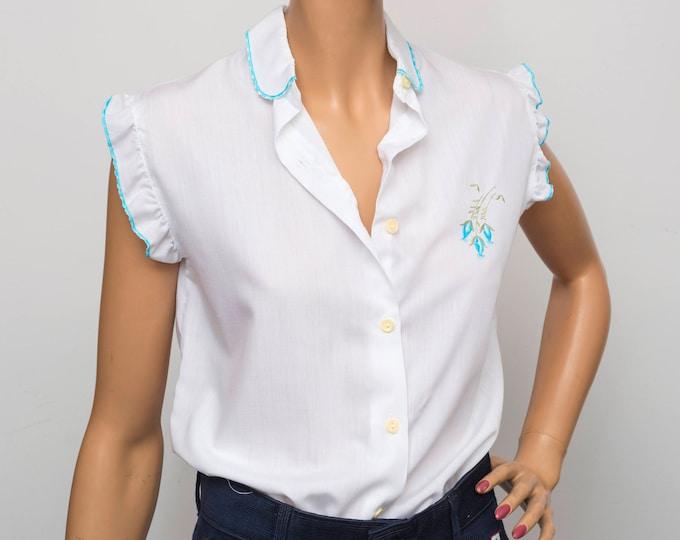 80's White Vest blouse NOS Vintage Size S