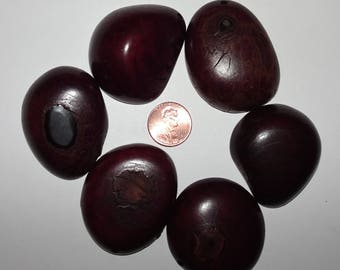 6 Deep Purple Tagua Nut Beads, Top Slices, Organic Beads, Natural Beads, Vegetable Ivory Beads, EcoBeads 18
