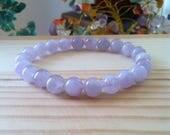 "Handmade Genuine Light Amethyst Bracelet, Natural Amethyst Gemstone Stretch Bracelet,Meditation Healing Balance Amethyst 7"" Bracelet"