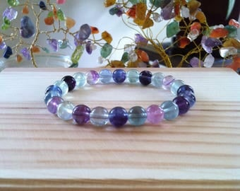 "Handmade Genuine Rainbow Fluorite Bracelet, Natural Colorful Flourite Gemstone Stretch 7"" Bracelet, Meditation Healing  Natural Flourite"