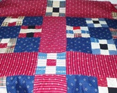 Vintage Quilt Top Hand Pieced 9 Square Patchwork Quilt Rustic Country Farmhouse Cottage Chic Home Decor 86X74 717