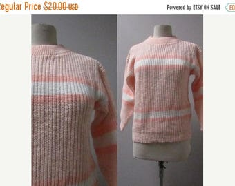 final 2017 MASSIVE SALE vintage pullover peach and white stripe acrylic chunky knit 80s 1980s ski sweater indie new wave kitsch hipster club