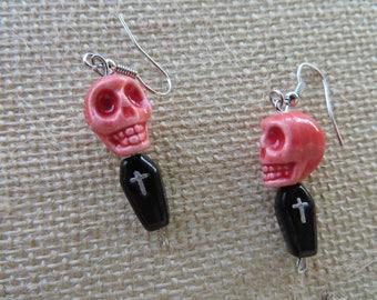 Light Red Glass Skulls And Coffins Earrings
