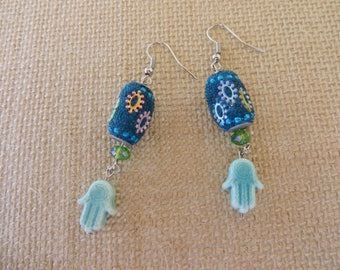 Dangling Blue Barrel And Glass Hamsa Earrings