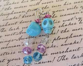 Light Blue Skulls With Clear Pink And Aqua Crystals Earrings