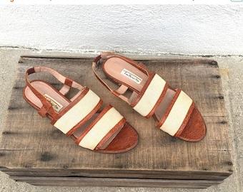 20% Off Sale 90s Slingback Sandals Crocodile Linen Modern Minimal Flats Italian Made Preppy Normcore Ladies Size 10
