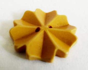 Carved Bakelite Button Custard