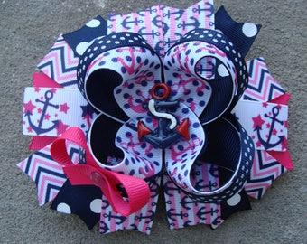 Big Anchor Hair Bow Navy Anchor Bow Pink Anchor Bow Big Anchor Bow Big Hairbow with Anchor Big Navy Bow Big Pink Bow Navy and pink hair Bow