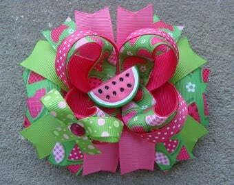 Watermelon Hair bow Summer Hair Bow Pink and green Watermelon hair bow Girl hair Gift Summer Photo Prop large boutique hair bow hair clip