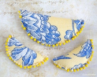 3 pendant Crescent French toile de jouy blue yellow, charm half moon fabric - craft handmade