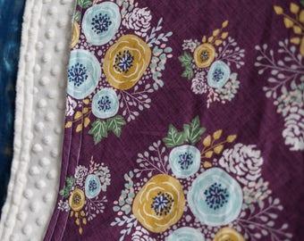Floral Baby Blanket - Minky Blanket - Girls Baby Blanket - Purple Blanket -Toddler Blanket - Floral Baby Bedding - Baby Shower Gift