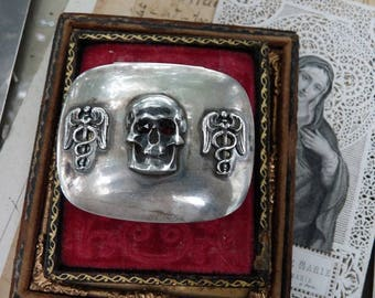 Antique Victorian Memento Mori Skull & Caduceus Pill Snuff Box, Alchemical Talisman, offered by RusticGypsyCreations