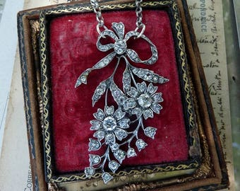Antique French Love Token Paste Flower & Vine Necklace, by RusticGypsyCreations