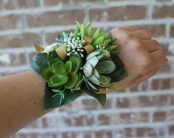 Artificial Succulent Wrist Corsage, Wristlet, Boutonniere, Bridal, Floral, Wedding, Prom, Green, Faux, Natural, Organic, Rustic, Vintage