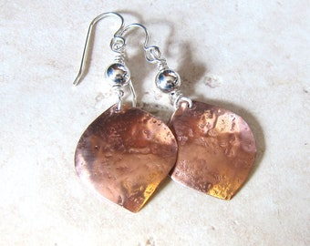 Hammered copper petal earrings Mixed metal drops Mixed media sterling silver and copper dangles Metalwork jewelry