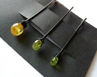 Yellow & Green Gemstone Trio Bobby Pin Pack - Yellow Aquamarine, Vessonite, Peridot
