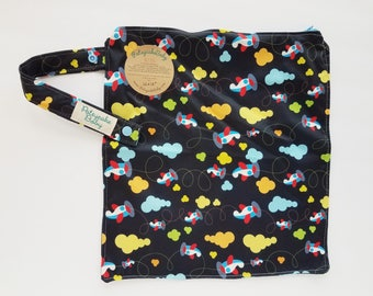 Wet bag, water resistant, cloth diaper bag, swimsuit, beach, baby, Medium, airplanes, planes, sky, night, clouds