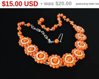 Orange Lucite Bead Necklace - Round Flowerette Design - Inline Flowers Choker Design w Gold Tone Findings - Vintage 1950s 1960s Fashion Era
