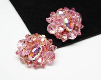 Pink Crystal Bead Rhinestone Earrings   - Crystal Glass Beaded Clip on Earrings - Vintage 1950 Crystal Glass Beads - TheJewelSeeker