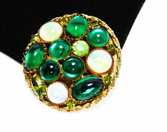 Round Gold Tone & Green Glass Brooch - Moon Glow Style Oval and Round White and Green Glass Cabochons - Green Rhinestones Vintage 1960s Pin