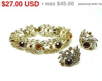 Summer Sizzler Sale Vintage Coro Bracelet & Earrings Demi Set - Golden Amber Rhinestones