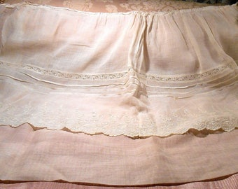 Antique Edwardian Cotton Embroidered Dress Panel