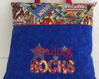 Super Heroes Reading Pocket Pillow