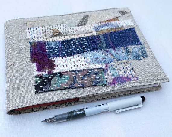 Linen Landscape A5 Sketchbook Journal - Patchwork Embroidered Notebook - Textile Art Book Sketchbook - Neutral coloured Notebook Journal