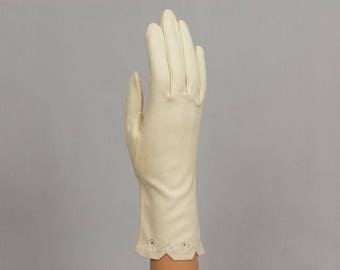 Long Gloves, Off white, 10 inches in length Wear Right 100% cotton Made in West Germany Beautiful embroidered wrist edge Size 6 1/2 Medium