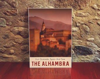 Spain The Alhambra Travel Poster 12x18 Size Vintage Style Art Retro Poster Spanish Art