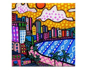 Honolulu Skyline Art Ceramic Coaster Tile  Hawaii City Waikiki Beach Diamond Head Beach ocean by Heather Galler Artist