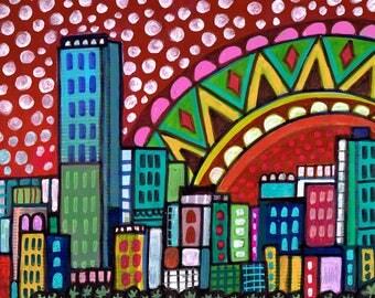 Miami Skyline art Tile Ceramic Coaster Mexican Folk Art Print of painting by Heather Galler City Florida