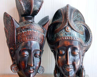 Vintage Carved Masks,  Achatit Prince Princess Tribal Masks, Nubai Style German Carving 1950s