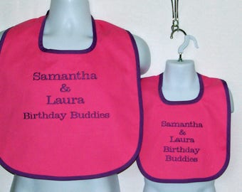 Adult Bib, Matching Baby, Toddler,  Custom Personalized Gift, Grandparent Gag Gift, Birthday Twins, No Shipping Fee,  Ships Today, AGFT 1058