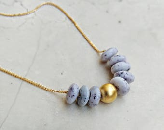 Gray stones necklace, gold necklace, gentle stone necklace, modern necklace ,gold element, delicate  gold ball, modern jewelry