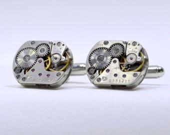 Stunning set of Rectangular watch movement cufflinks ideal gift for the birthday of a steampunk lover 78