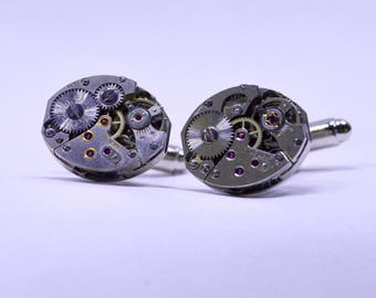Stunning oval watch movement cufflinks ideal gift for a wedding, birthday or anniversary 136