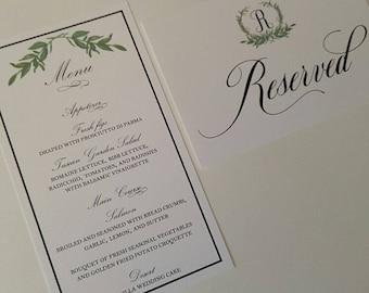 Wedding Menu Laurel Wreath Design, Reserved Signs to Coordinate Laurel Wreath Design with Monogram