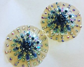 Grey Illusion burlesque pasties nipples covers
